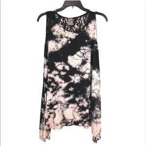 Tie Dyed & Lace Tunic Top by American Age, size S